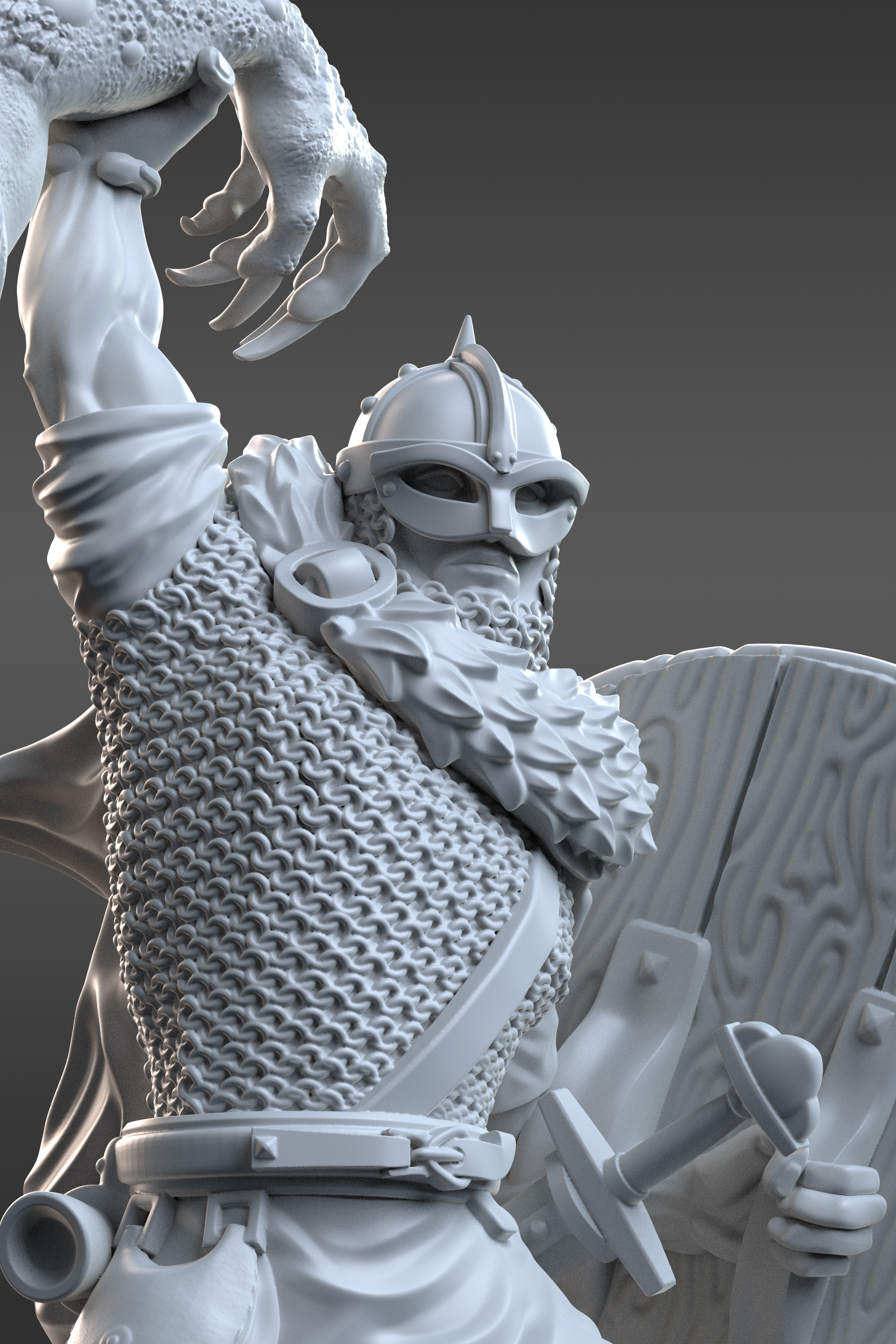 Posed 3D miniature sculpt of Beowulf with chainmail